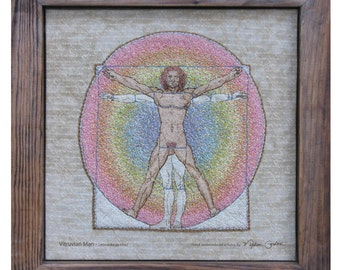 Vitruvian Man, Leonardo da Vinci, print, of hand embroidered original, on canvas or brushed aluminum, 15x15