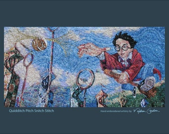Quidditch Pitch Snitch Stitch, Harry Potter, print, of hand embroidered original, on canvas or brushed aluminum, 10x16