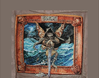 Broadsword and the Beast, Jethro Tull, album cover, print, of hand embroidered original, on canvas or brushed aluminum, 12x13