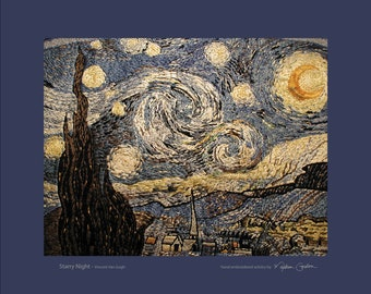 Starry Night, Vincent Van Gogh, print, of hand embroidered original, on brushed aluminum, 14x17