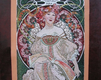 F. Champenois, Alphonse Mucha, print, of hand embroidered original, on canvas or metal, 14x11