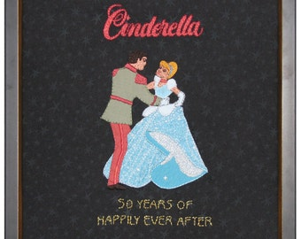 Cinderella, Disney, print, of hand embroidered original, on canvas or brushed aluminum, 12x12