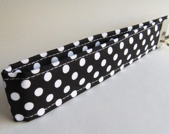 FREE SHIPPING ALWAYS - Black and white polka dot Fabric Keychain, Key Fob Wristlet, Key Fob Keychain, Key Wrist Strap.