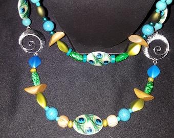 Greens and Turquoise Beaded Necklace & Earrings