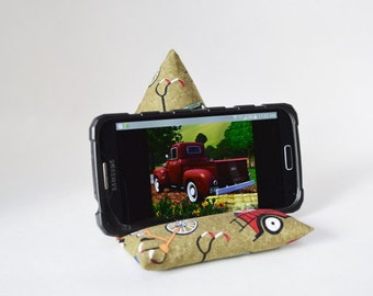 Smartphone Pillow  - Smartphone Stand - Wagons, Trucks and Bikes Oh MY! - Masculine - Handmade