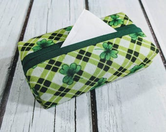 LUCKY YOU, Fabric Tissue Holder, Purse Size Tissue Holder, Travel Size Tissue Holder, Handmade Tissue Holder, Pocket Tissue Holder