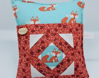 Foxy - Deluxe Pincushion - Handmade - Pincushion with Pocket - Gift for Quilters - Gift for Sewers - Gift for Mom
