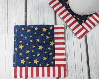 Americana - Handmade Quilted Coaster - Set of 2 - Mug Mats - Gift for Mom - Hostess Gift - Mother's Day - Teacher Gift