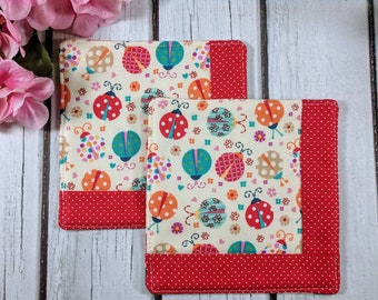 Lady Bug- Handmade Quilted Coaster - Set of 2 - Mug Mats - Gift for Mom - Hostess Gift - Mother's Day - Teacher Gift