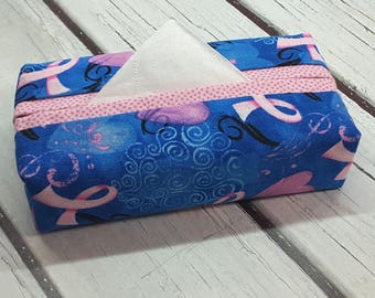 PINK RIBBON Fabric Tissue Holder, Purse Size Tissue Holder, Travel Size Tissue Holder, Handmade Tissue Holder