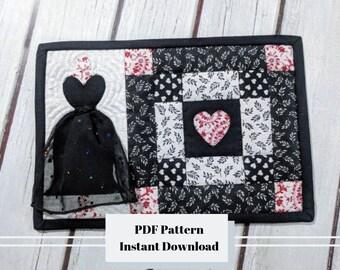 Little Black Dress Mug Rug PDF PATTERN, Pretty Mug Rug,  Mug Rug, Cute Mug Rug, Coffee Mug Rug, Tea Mug Rug, Instant Download