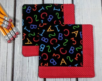 ABC 123 - Handmade Quilted Coaster - Set of 2 - Mug Mats - Gift for Mom - Hostess Gift - Mother's Day - Teacher Gift