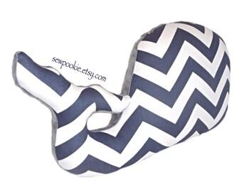 Nautical Nursery Whale Pillow, Navy and White Chevron with Charcoal Gray Minky, Nautical Decor, Modern Nursery