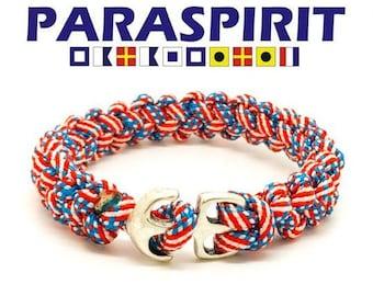 Nautical Bracelet / Rope Bracelet / Surfer / Beach Paracord Bracelet with Silver Anchor Clasp