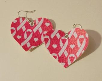 Heart shaped pink ribbon earrings