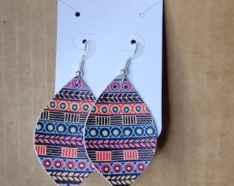 Bohemian hispanic inspired faux leather earrings