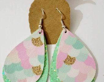 Mermaid scale teardrop earrings