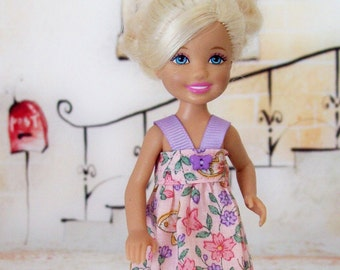 Handmade, Chelsea Doll Dress, Pink, Butterflies, 5.5 inch Doll, Doll Dress, Little Doll Dress, Doll Clothes