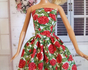 "Handmade Barbie Clothes - Red Rose Dress, 11.5"" Fashion Doll Clothes"