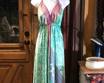 Boho Silk Dress, Bohemian Halter, Dress Ethnic Beach Dress, Festival Dress, Hippie Dress, Vintage Recycled Silk Dress, Boho Chic Gypsy Dress