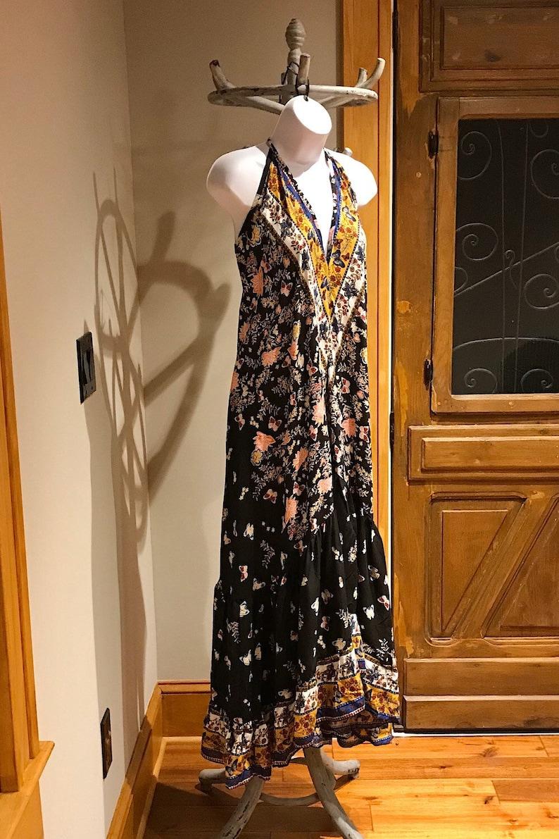 Open back Dress Boho Chic Dress Hippie Dress Beach Halter Ruffle Dress Gypsy Boho Dres Bohemian Festival Ethnic Dress Boho Ruffle Dress