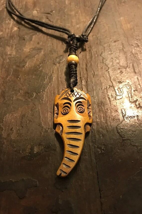 Carved Bone Pendant Necklace Chakra Necklace BoHo Bone Necklace Om Pendant Festival Jewelry Bone Pendant Spiritual Jewelry Gifts