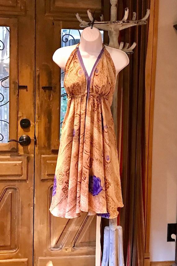 Boho Chic Gypsy Dress Vintage Recycled Silk Dress Festival Dress Dress Ethnic Beach Dress Boho Silk Dress Bohemian Halter Hippie Dress