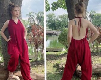 Boho Loose one size Romper with two Pockets, Harem Pants, Jumpsuit, Jumper, Romper, Buddha Pants, Yoga Pants, women Hippie Festival Pants