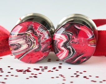 "9/16 Plugs, 14mm Plugs, Red Gauges, Polymer Clay Plugs, Gauged Earrings, Flesh Tunnels - size 9/16"" (14mm)"