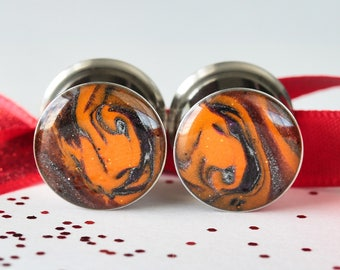 "Halloween Plugs, 9/16 Plugs, Orange Gauges, Gauged Earrings - size 9/16"" (14mm)"