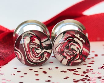 00 Gauge Plugs, 10mm Plugs, Red Gauges, Clay Plugs, Double Flare, Stretched Ears - size 00g (10mm)