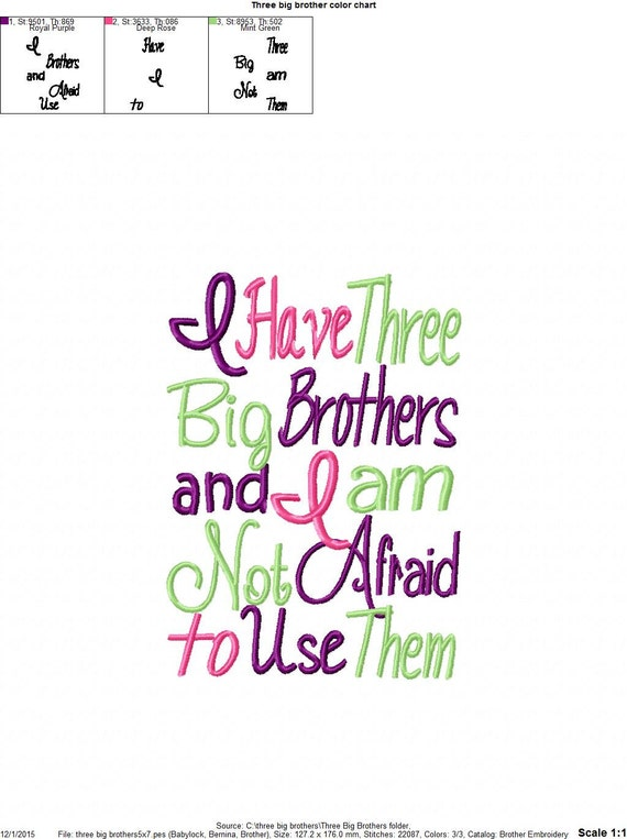 Three Big Brother Embroidery Design Etsy