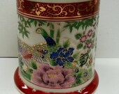Vintage Pheasants Porcelain Candle Holder, Peacock Bird Red Gilded Candlestick