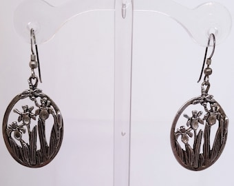 Vintage Floral Dangle Pierced Earrings, MASJ Iris Drop Earrings, Vintage Women's Costume Jewelry
