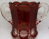Antique Ruby Stained Glass Spooner, New Martinsville Placid Thumbprint 704 Pattern, EAPG