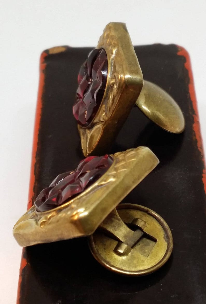 Antique Red /& Gold Cufflinks Vintage Mens/'s Cuff Links Jewelry