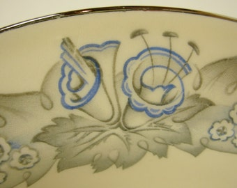 Edwin Knowles China Soup Bowls (3), Hostess Shape, Cream & Blue Floral Pattern Platinum Trim