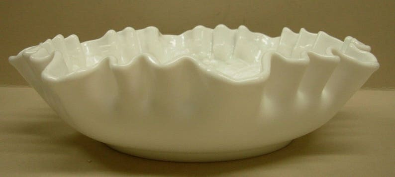 White Glass Crimped Bowl Imperial Glass Vintage Grape Pattern Dish
