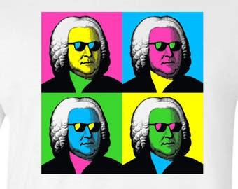 Johann Sebastian Bach Pop Art Funny Classical Music Mens T-shirt White