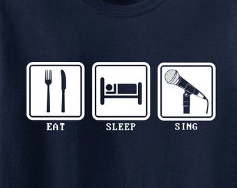 Eat Sleep Sing Funny Music Adult Mens T-Shirt Navy Blue