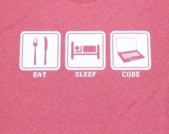 Eat Sleep Code Funny Computer Programmer Mens Adult T-Shirt Heather Red