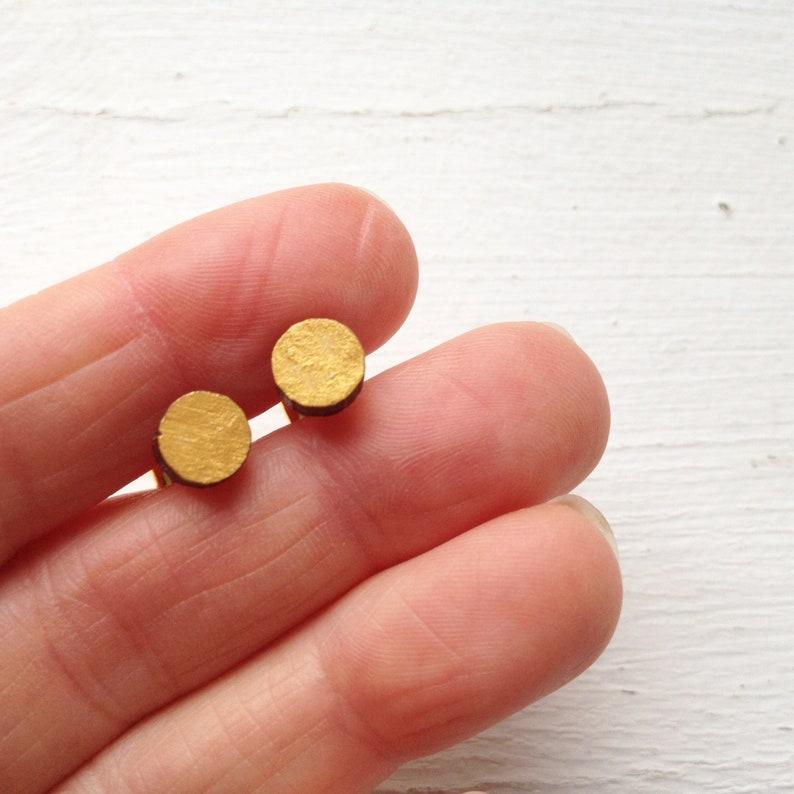 Little Gold Dot studs tiny wood circlesgold circle earrings image 0