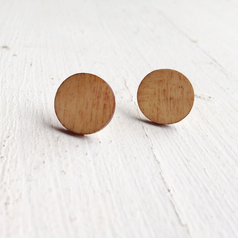 Circle studs natural wood studs round earrings wooden image 0