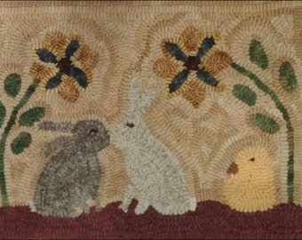 Primitive rug hooking kit, hooked, kissing bunnies, linen, wool