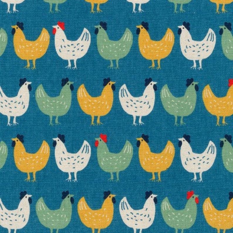 Chicken Fabric  Yellow Green White Chickens on Blue  Robert image 0
