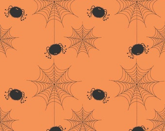 Halloween Spider Cobwebs on Orange Fabric from Riley Blakes Holiday Banner collection. Spiders Trick or Treat. 100% cotton, C565-Orange