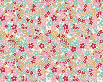 "Pink Red Fields Floral Fabric - Riley Blake ""Forget-Me-Not"" By Tammie Green of Studio T Green - 100% cotton.  C6303 - Select Your Length"