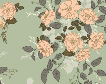 """Floral Fabric """"Marrell's Secret Garden"""" from Her & History by Bonnie Christine for Art Gallery Fabrics. 100% cotton. HEH-52782"""