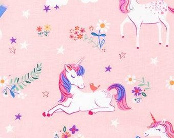 Unicorn Fabric - Sea Urchin Studio for Robert Kaufman. Happy Little Unicorns & Rainbows on Pink. 100% cotton. AUI-17163-10