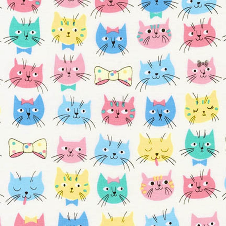 END-OF-BOLT  15x44  Pastel Cat Fabric  Whiskers image 0